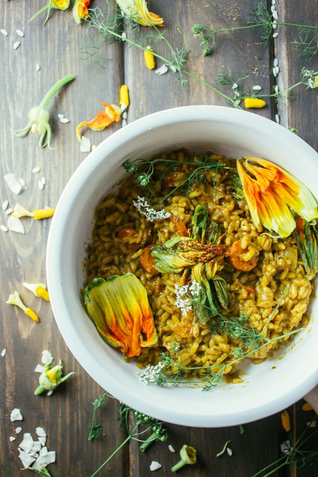 Curried Risotto with Squash Blossoms www.rootingthesun.com