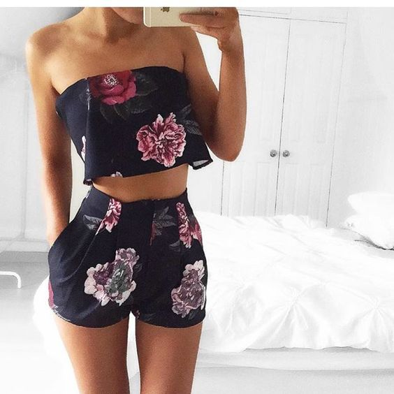 Matching floral strapless crop top and shorts