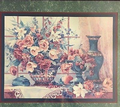 details about home interiors barbara mock vase flowers fruit lace doily vtg lrg