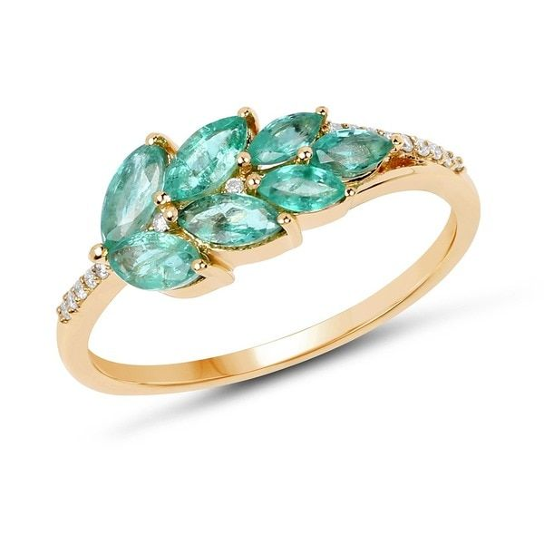 Malaika 14k Yellow Gold 0.69-carat Genuine Zambian Emerald and White Diamond Ring