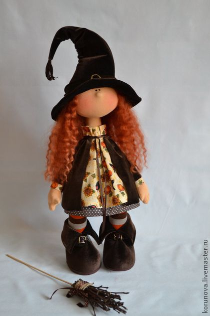 Bambole da collezione Fatte a mano. Fiera Masters - tessile a mano bambola strega. Fatto a mano.