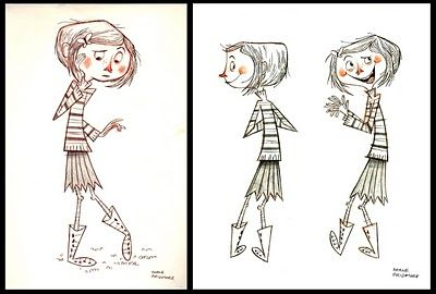 Coraline character design. This website is my home base for all animation related art.  Concept Art, Pencil Tests, Storyboards...it's got it all.