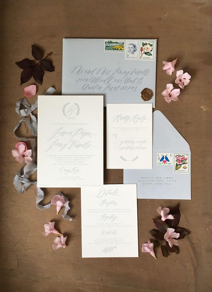 Romantic Serenity Blue Letterpress Wedding Stationery