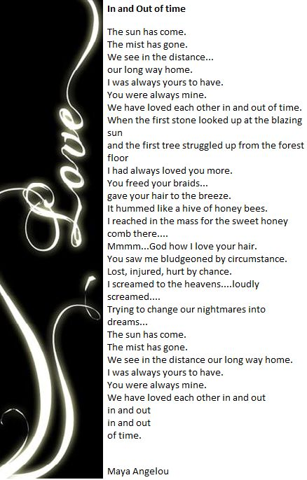 In And Out Of Time By Maya Angelou Poetry For My Soul Pinterest Quoteaya