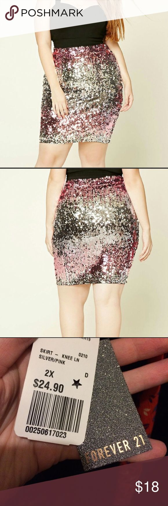 HPNWT Forever 21 Plus Size Sequin Skirt Gorgeous, eye-catching skirt. Brand new, with tags! Forever 21 Skirts
