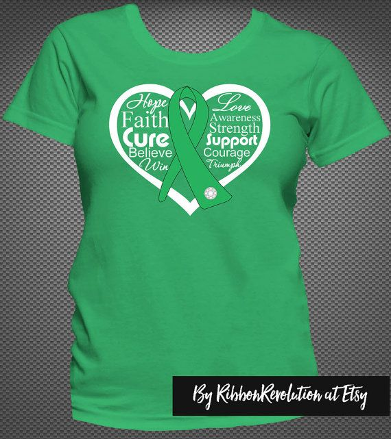 Heart Awareness Ribbon Shirts for causes such as Adrenal Cancer, Bile Duct Cancer, Kidney Cancer, Cerebral Palsy, Gastroparesis, Kidney Disease, Mitochondrial Disease, Neurofibromatosis, Spinal Cord Injury, TBI, Organ Transplant, Stem Cell Transplant and Bone Marrow Transplant awareness. The ribbon is our exclusive handcrafted ribbon with a diamond-like stud and powerful words.