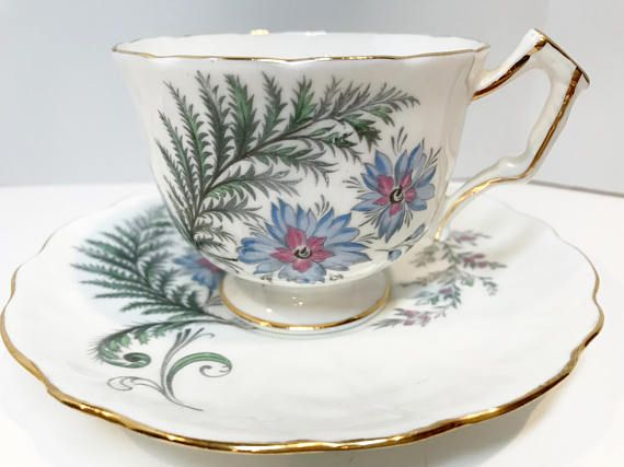 Aynsley Tea Cup and Saucer, Floral Cups, Antique Tea Cups, English Bone China Tea Cups, Vintage Tea Cups, Bridal Shower Gift, Fern Cups