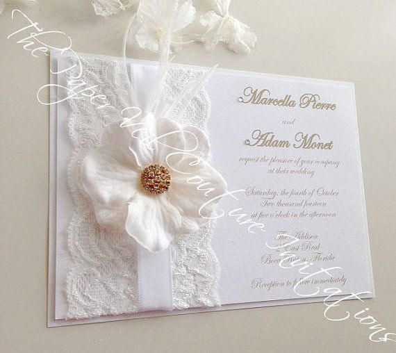 hollywood vintage glamour couture wedding invitation w rsvp card white and gold ostrich - Couture Wedding Invitations