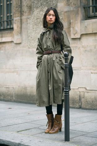 Green | Long | Belted cinch | Baggy | Lemaire coat