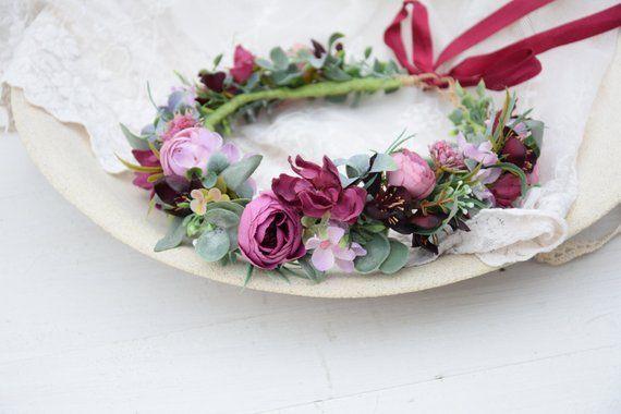 Wianek Na Glowe Kwiatowy Wianek Slubny Wianek Wianek Do Slubu Kwiaty Do Wlosow Romantyczny Wianek Boho Wianek Marsala Wedding Flower Crown Floral Wreath
