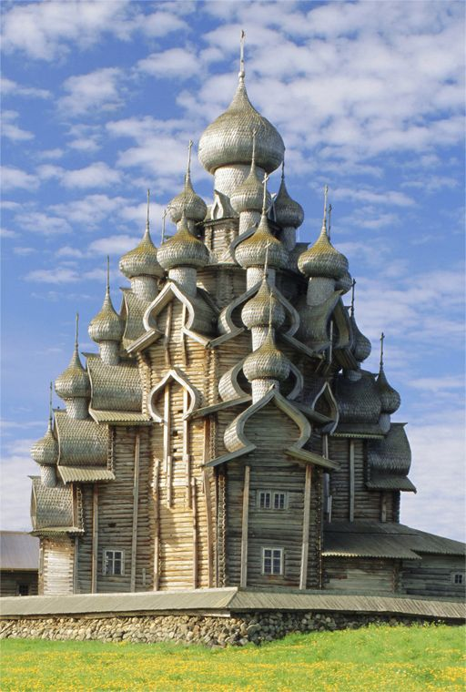Kizhi Pogost, a 17th century site on an island in Lake Onega in Russia. This picture is a pogost, a church. This building is still around after 400 years - and it's made out of wood!