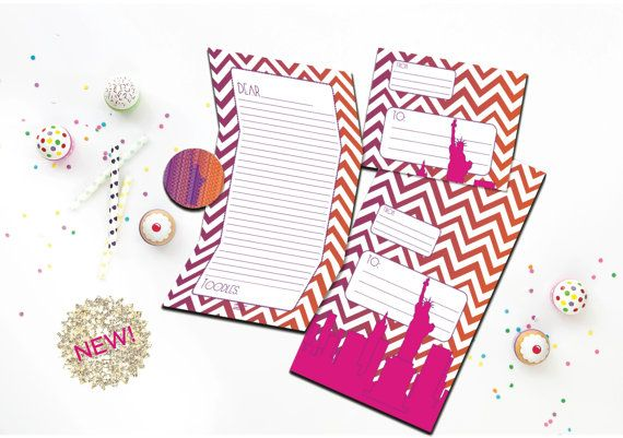 Camp Stationery Set - Pink Camp Stationary Set - New York City Fold and Seal Tween Camp Stationery