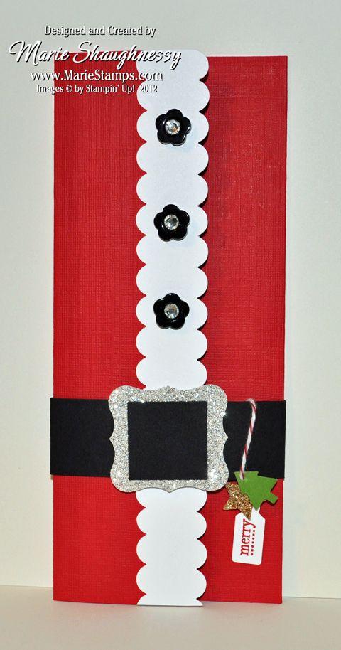 Stamping Inspiration: 25 DAYS OF CHRISTMAS, DAY #11, Santa's Belly Money Holder...