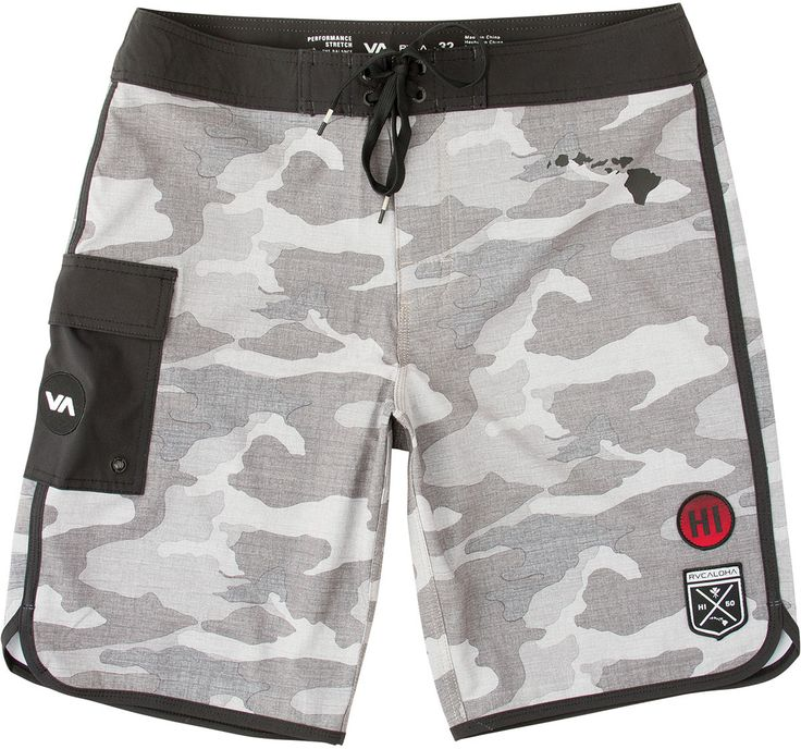 The RVCA Eastern Hawaii Edition Trunk are 4-way performance stretch boardshorts an allover camo print.  The boardshorts have a hook and loop with draw c...Vic