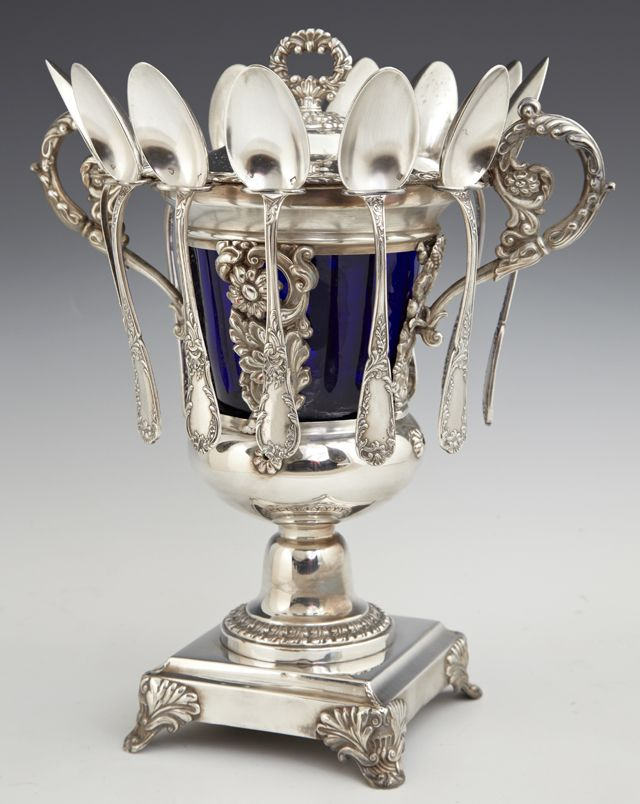 Rare French Silverplated Covered Caviar Server With Original Twelve Spoon And A Cobalt Glass Liner    c. Late 19th Century