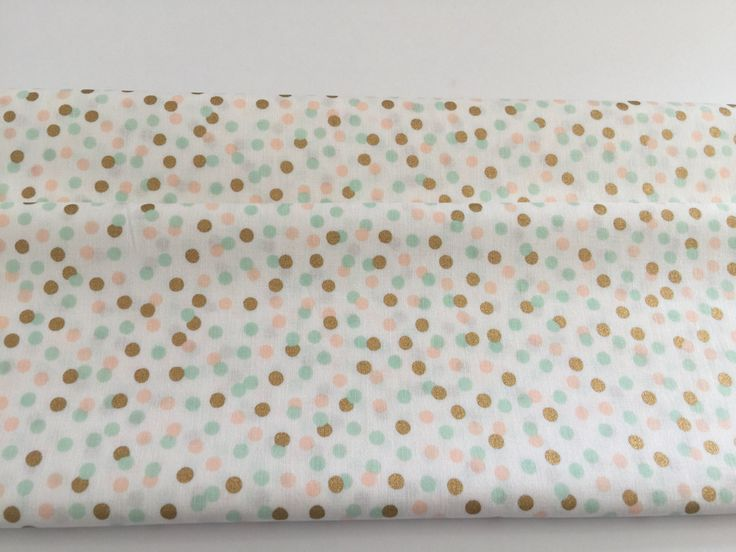 Gold & Colourful mini dot fabric - premium cotton with coral, mint and metallic gold polka dots by SweetpeaAndLime on Etsy