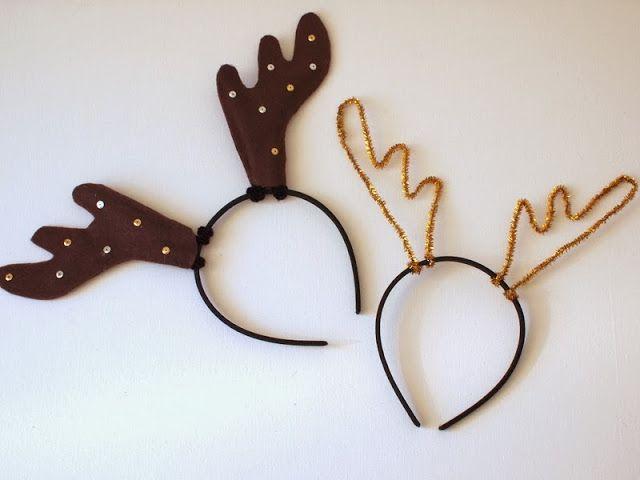 Pink Stripey Socks: DIY Reindeer Antler Headbands