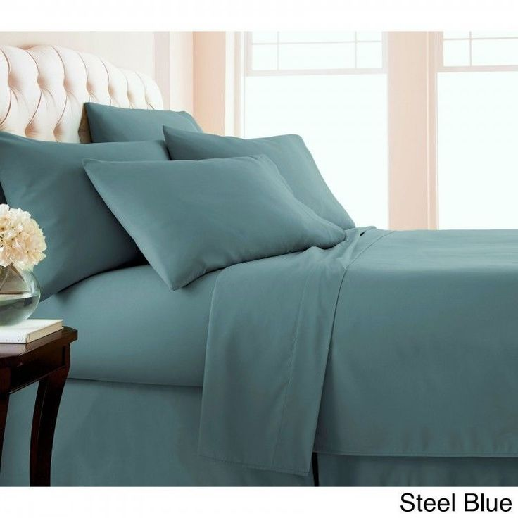 Queen 6-piece Sheet Set Extra Deep Pocket Flat Fitted Sheets Pillowcase Blue  #Southshore #Contemporary