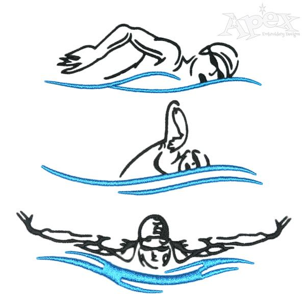 Swim Embroidery Designs