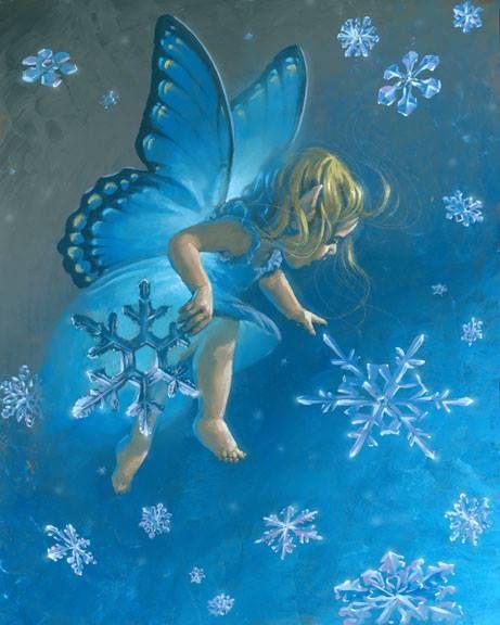 snowflake fairy child / Baby Erin gathering Snowflakes.
