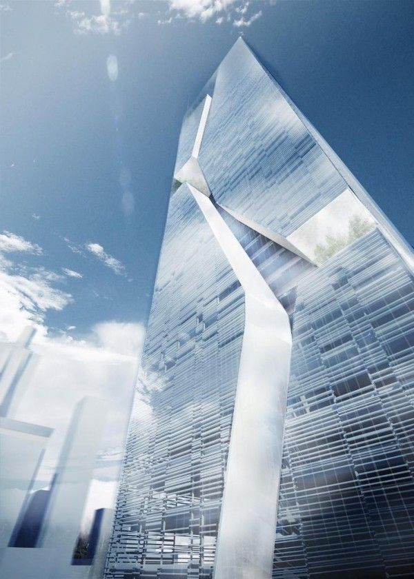 Shenzhen Guosen Securities Tower designed by Massimiliano and Doriana Fuksas - the dividing line and the iceberg feel to this structure is unusual..