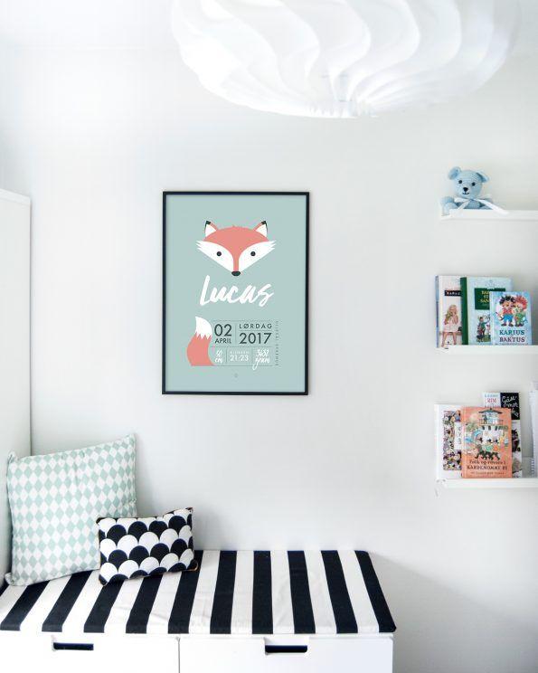 Minimalistisk fødselsplakat med rev #minimals #fox #birthposter #fødselplakat #fødselstavle #enkontrast #minimalistisk #kidsroominspo #boysroom #girlsroom #kidsroom #ikeastuva
