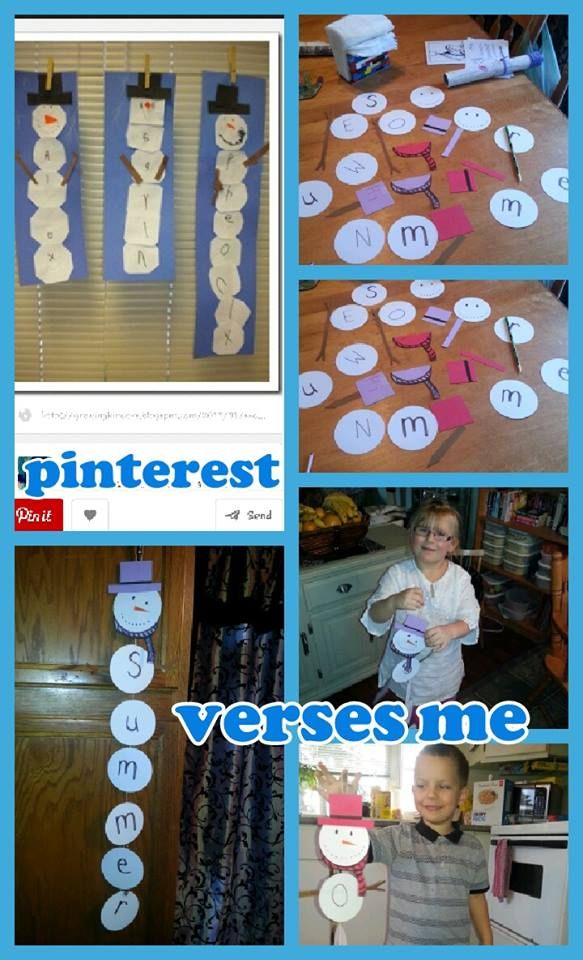 """Find your name snowman- I could have had the kids write  each letter in their names but they are really just learning. So I wrote them and scrambled them and the kids had to find each letter in order. I precut everything for the snowman and the kids glued it all together. Was great as summer thought the W in Owens name was the """"m"""" for hers. I did one capital E and one lowercase so there was a tiff on who gets what """"e"""" lol. Would definitely do this again. Or similar. possibly candy canes?"""