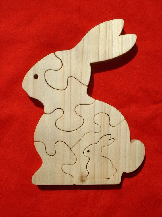 Rabbit With Baby - Childrens Wood Puzzle Game- New Toy - Hand-Made - Child-Safe