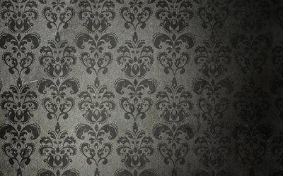 текстуры, винтаж, обои, старение, листики, цветочки, орнамент, тёмный фон, vintage wallpaper