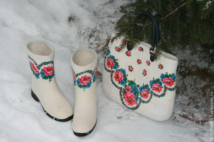 """Купить Валенки""""Королевские"""" - белый, валенки, обувь ручной работы, обувь для улицы, обувь, обувь из войлока"""