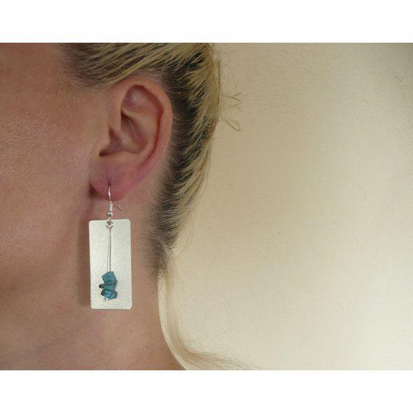 Long handmade rectangle dangle earrings, german metal, linear... (€17) via Polyvore featuring jewelry, earrings, blue gemstone earrings, blue dangle earrings, blue jewelry, linear earrings and gemstone jewelry