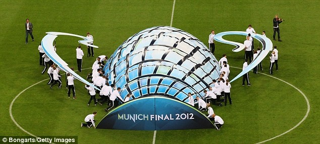 Fancy display: A mock Champions League trophy was displayed on the pitch as the sides walked out