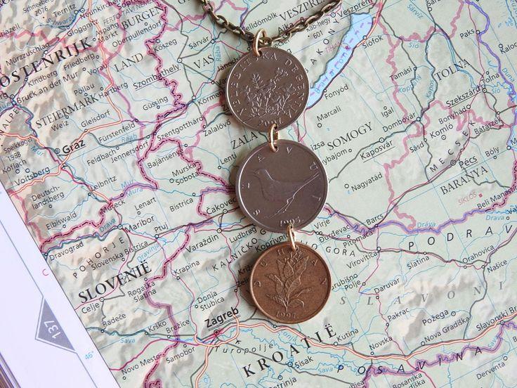 Croatia coin necklace - 3 different designs - made of original coins - plants - leaves - bird door HandmadeByCharlie0 op Etsy