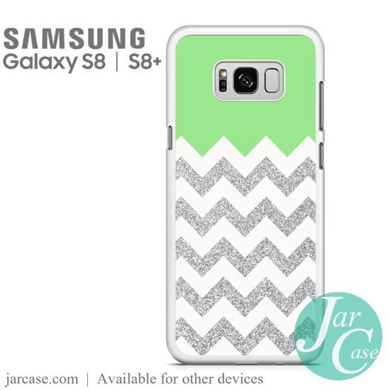 Green Silver Glitter Chevron Phone Case for Samsung Galaxy S8 | S8 Plus
