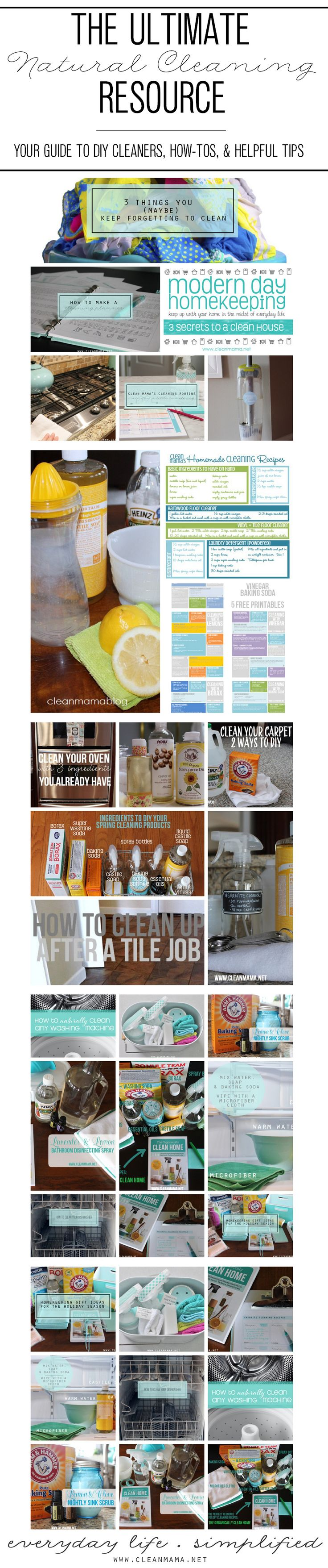 Ready to save yourself $$? Make your own cleaners instead of going commercial. The Ultimate Natural Cleaning Resource - Your Guide to DIY Cleaners, How-Tos, and Helpful Tips via Clean Mama