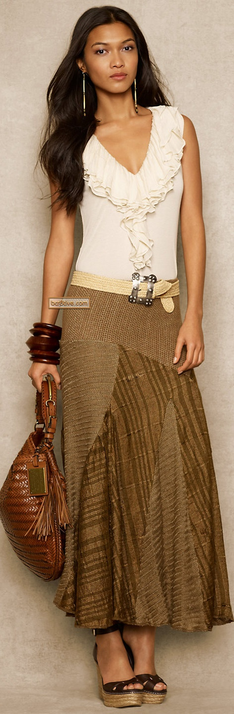 Ralph Lauren Blue Label Juno Ruffled Modal Top & Linen-Silk Patchwork Skirt on RalphLauren.com