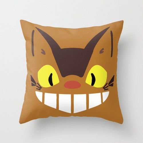 Catbus My Neighbor Totoro Throw Pillow 16x16 Kawaii Chibi Art Cover Anime Decorative Creature Manga Hayao Miyazaki Studio Ghibli Cat Bus Tan