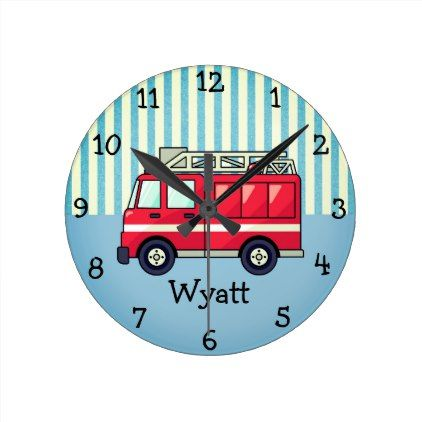 Red and Blue Fire Truck Nursery CLOCK - boy gifts gift ideas diy unique