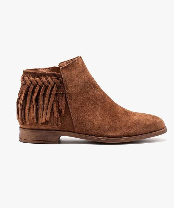 Boots dessus cuir suédé à franges Camel