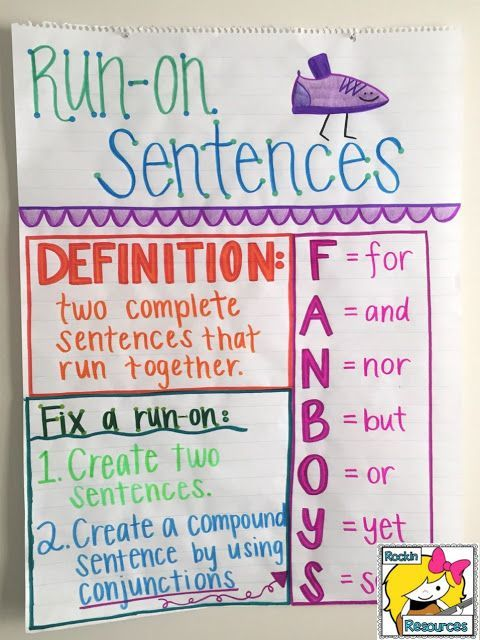Use this anchor chart to teach run-on sentences and how to fix them using FANBOYS.  Click to find examples and lesson plan for run-on sentences!
