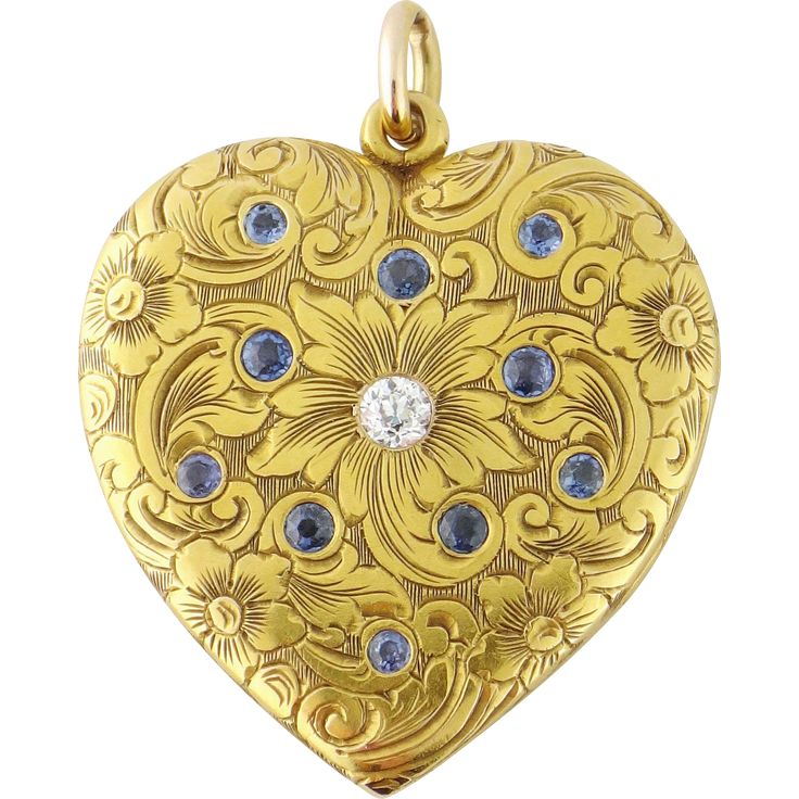 Description: Antique Edwardian (c. 1915) 14K Yellow Gold, Old European-cut Diamond Sapphire Heart Shaped Locket Masterfully hand crafted in 14K