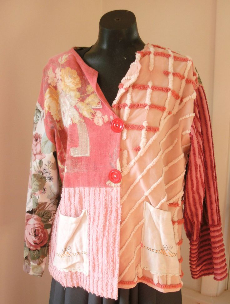 Vintage chenille jacket ~ not crazy about the color/designs but have old chenille bedspread that would look great redone as jacket
