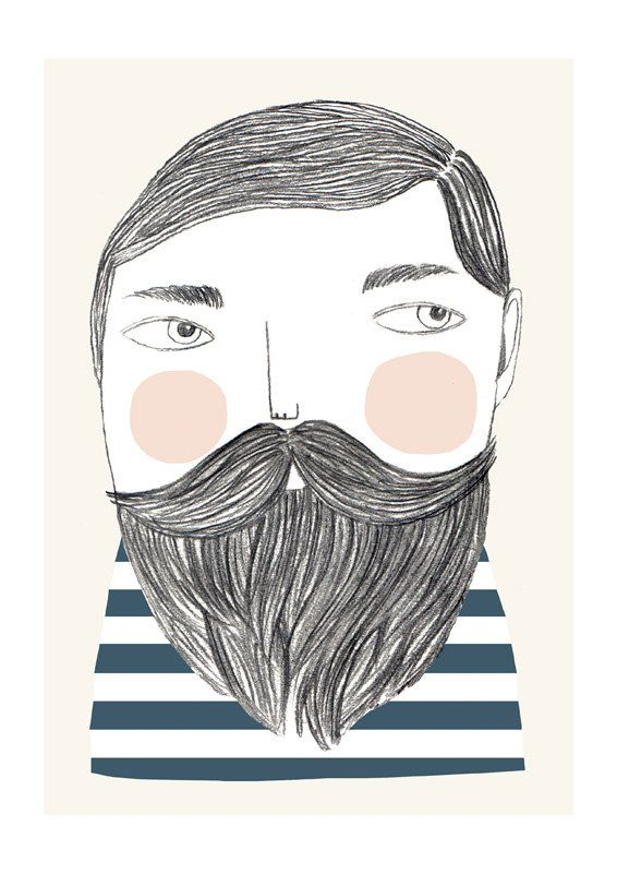 Bearded print by depeapa on Etsy, $27.00