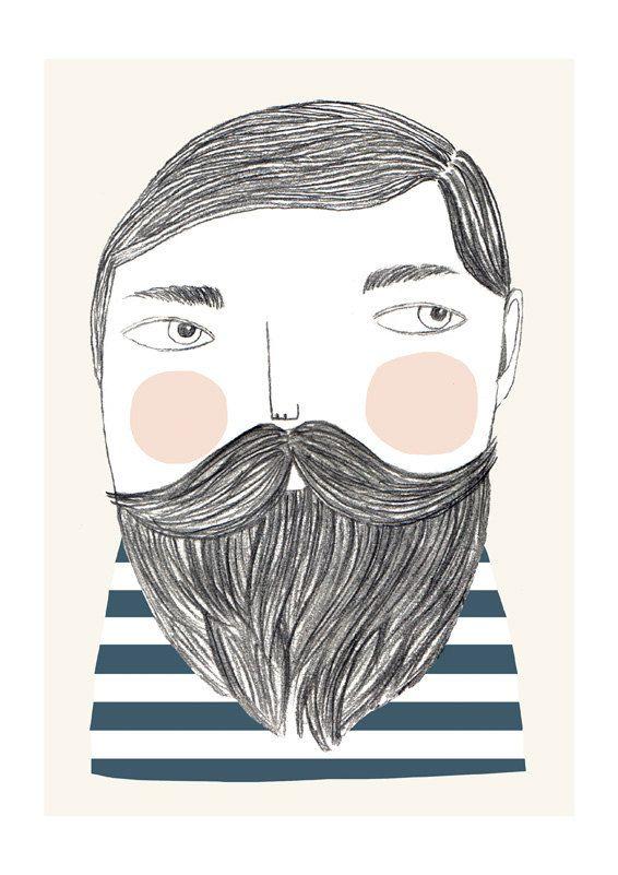 Bearded - Ilustración de Depeapa   http://www.etsy.com/es/listing/82577781/bearded-ilustracion?ref=shop_home_active