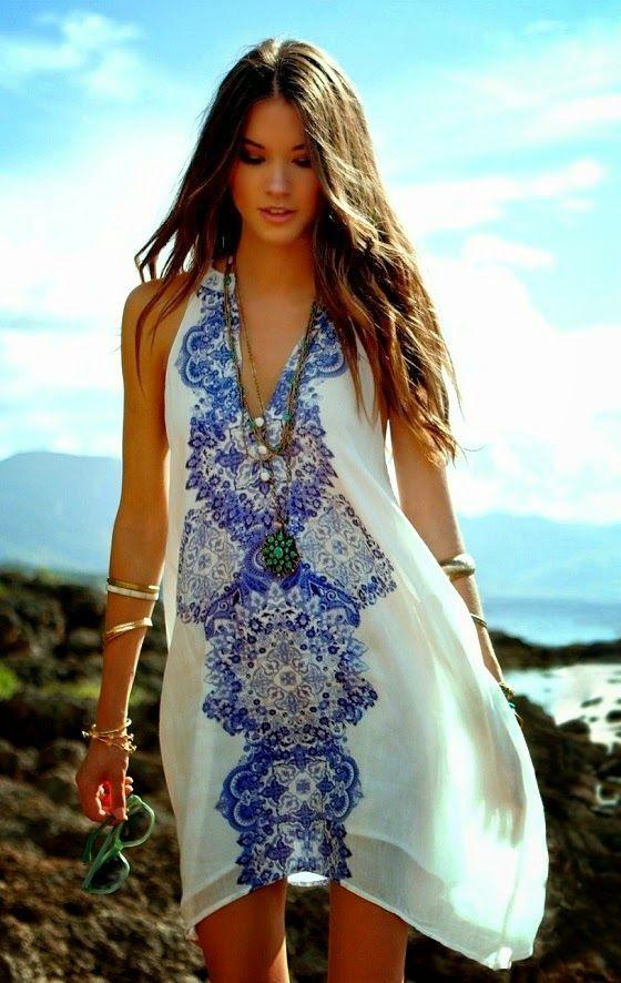 V-Neck White Printed Dress