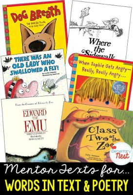 Primary mentor text suggested book list for words and phrases in stories and poetry- focus on rhyming, alliteration, repitition, feelings conveyed in a text, and words that appeal to sense- RL1.4, RL2.4