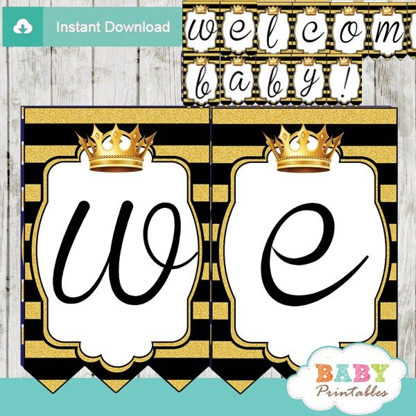 Black And Gold Royal Prince Baby Shower Banner   D271