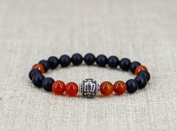 Carnelian bracelet Black onyx bracelet Virgo bracelet Virgo