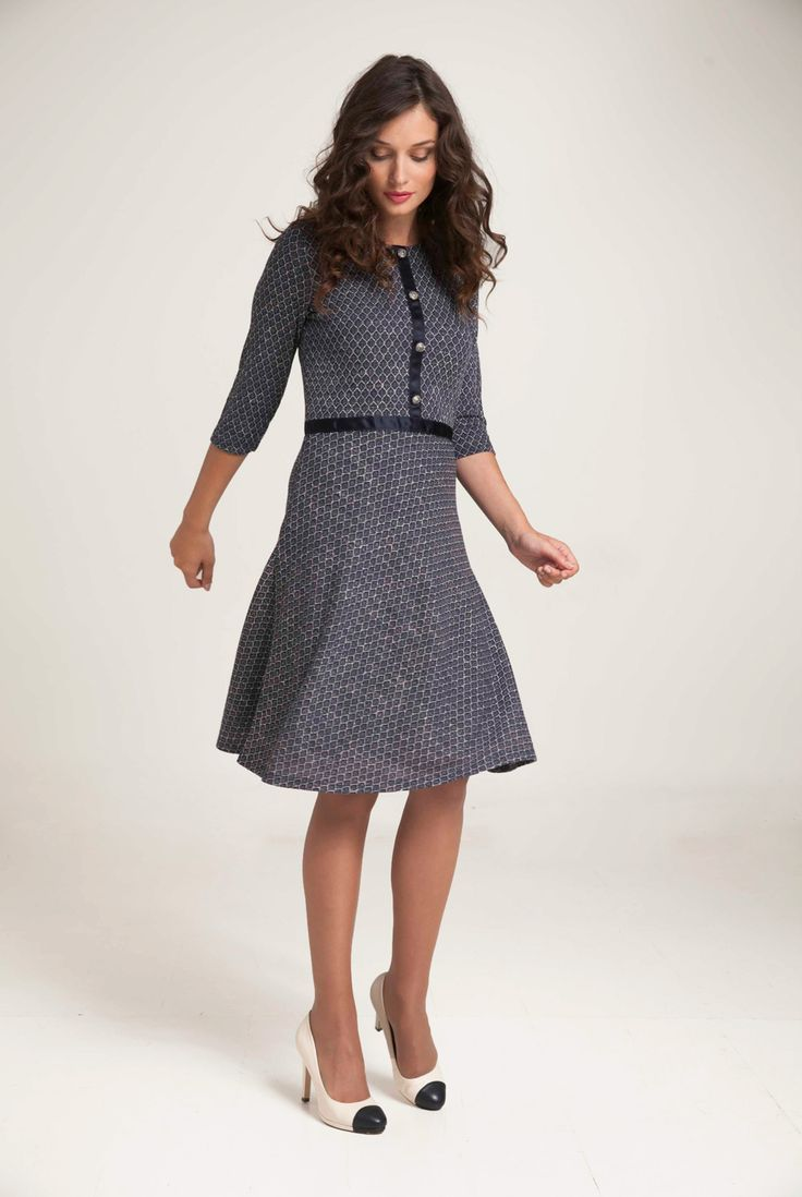"""Jacquard dress with """"round' neck and three quarter sleeves. Vertical front and waist satin ribbon with antique roses buttons. Concealed back zip fastening. In flared style and knee length. Lining inside. http://www.alexanderjacob.com/en/dresses/173-flared-jacquard-dress.html"""