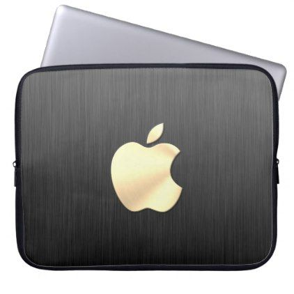 brushed metal apple logo Neoprene Laptop Sleeve - brushed metal gifts cool unique special gift idea
